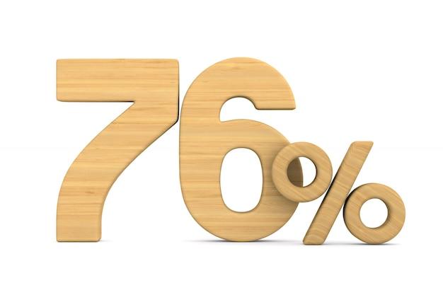 Soixante-seize pour cent sur fond blanc.