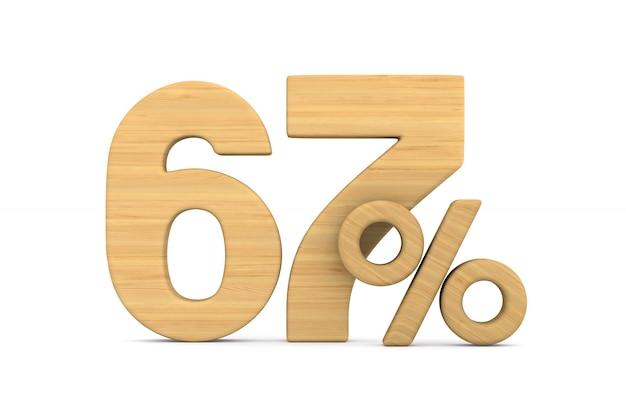 Soixante-sept pour cent sur fond blanc.