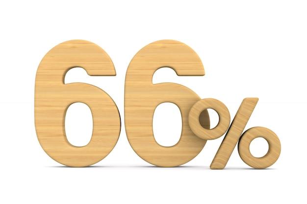 Soixante-six pour cent sur fond blanc.