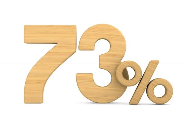 Soixante-treize pour cent sur fond blanc.