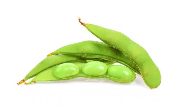 Soja vert sur surface blanche