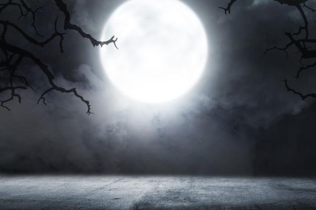Sol en béton avec fumée et clair de lune avec un fond de scène de nuit