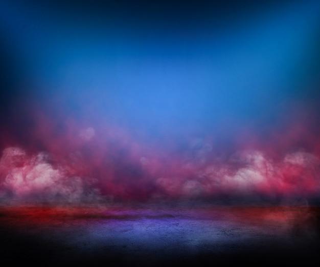 Sol en béton et mur de fumée rouge