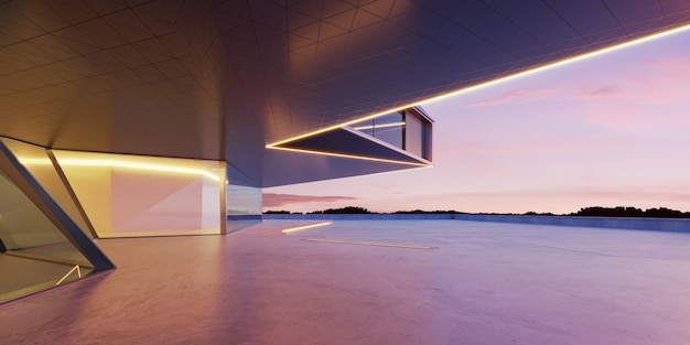 Sol en ciment vide avec extérieur de bâtiment moderne en acier et verre