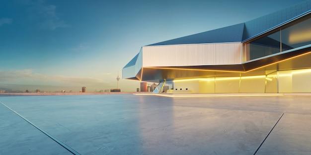 Sol en ciment vide avec fond de paysage urbain extérieur de bâtiment moderne