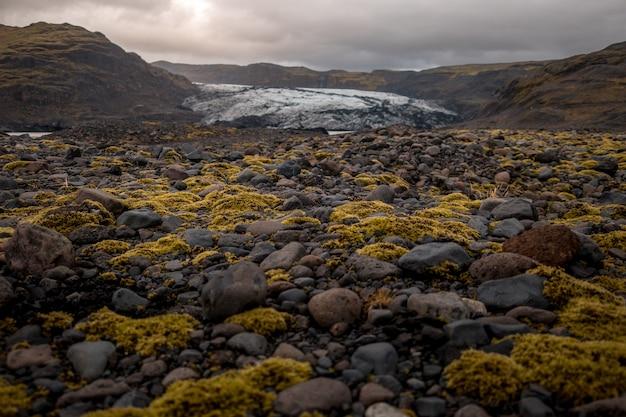 Sol couvert de pierres et de mousse au glacier solheimajokull, en islande