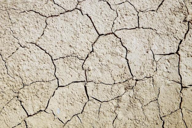 Sol fissuré causé par la sécheresse en été