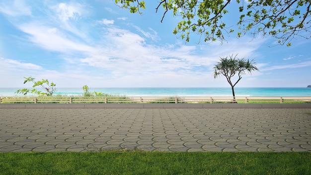 Sol de la route pavée et grand jardin avec vue sur la mer illustration 3d de la pelouse d'herbe verte vide