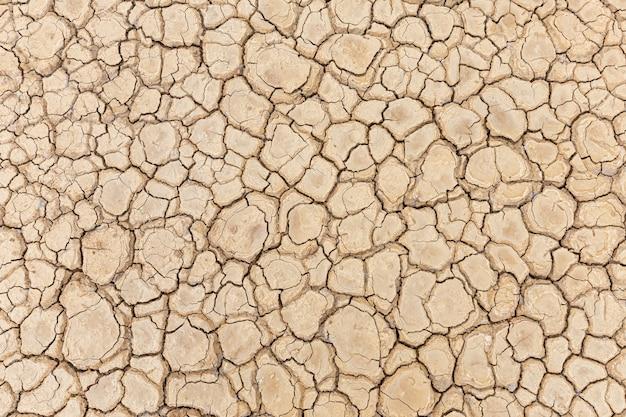 Sol sec et brun ou texture du sol fissurée.