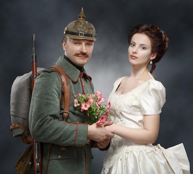 Soldats allemands de la première guerre mondiale, avec sa dame