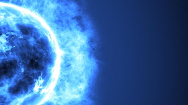 Soleil bleu abstrait futuriste dans l'espace avec des fusées éclairantes. grand fond futuriste