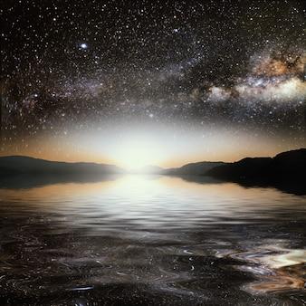 Soleil sur un ciel étoilé de surface reflété dans la mer. éléments de cette image fournis par la nasa