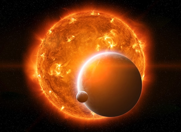 Soleil éclatant dans l'espace près de la planète terre et de la lune