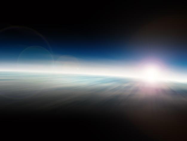 Soleil levant dans l'illustration de l'espace