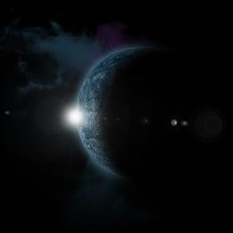Soleil levant derrière une planète fictive