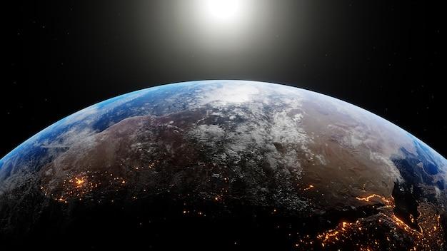 Le soleil traverse le cadre alors que la terre tourne, révélant les continents la nuit