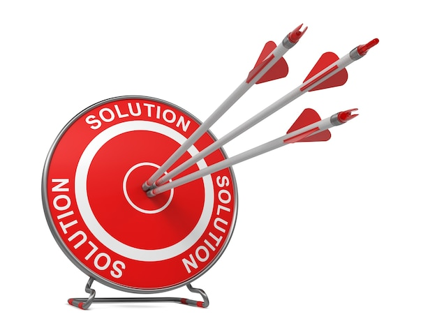 Solution. trois flèches frappant le centre d'une cible rouge, où est écrit