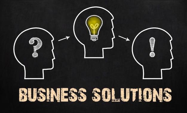 Solutions d'affaires - groupe de trois personnes avec point d'interrogation, roues dentées et ampoule sur fond de tableau.