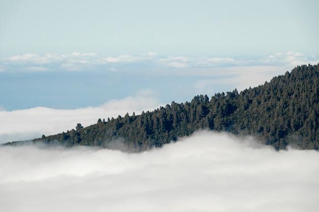 Sommet de la montagne au-dessus des nuages