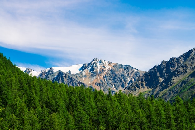 Sommet de la montagne derrière une colline boisée sous un ciel bleu clair.