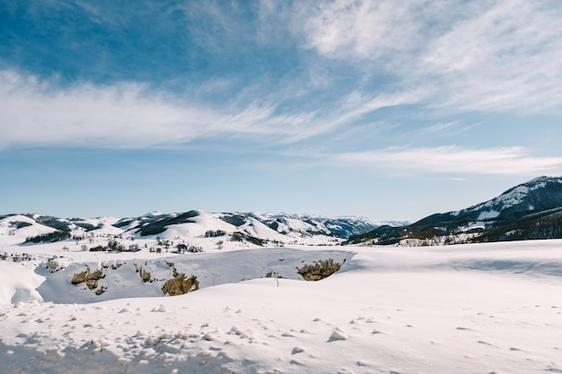 Les sommets enneigés de zabljak sont le parc national de durmitor au monténégro