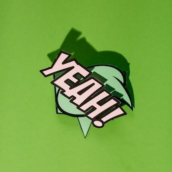 Son expression de dessin animé bulle discours discours phrase sur fond vert