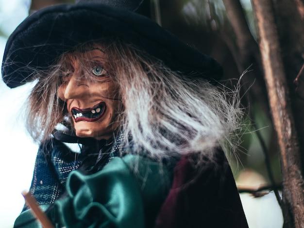 Sorcière maléfique sur fond sombre de la nature, portrait en gros plan de la vieille dame avec un maquillage terrifiant, fond d'halloween