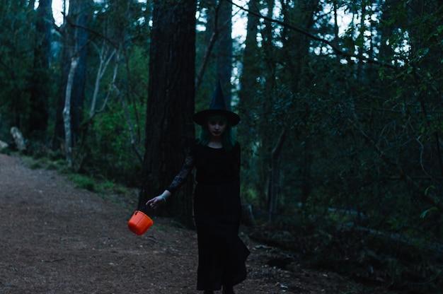 Sorcière avec un panier qui traverse la forêt