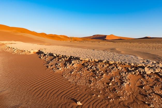 Sossusvlei en namibie, destination de voyage en afrique. dunes de sable et salière d'argile.