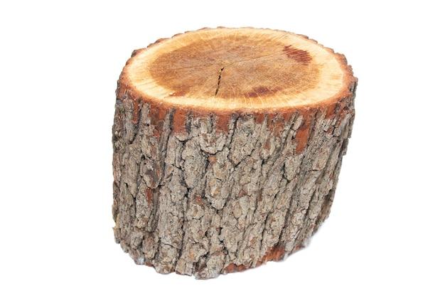 Souche en bois isolée.