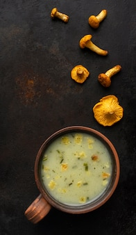 Soupe aux champignons et petits morceaux de champignons