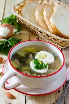 Soupe aux orties fraîches, oeuf, viande et pommes de terre. feuille d'ortie fraîche sur la table de cuisine un fond rustique.