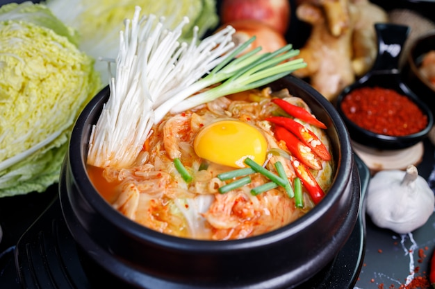 Soupe de chou kimchi dans un bol avec des matériaux du kimchi sur fond noir