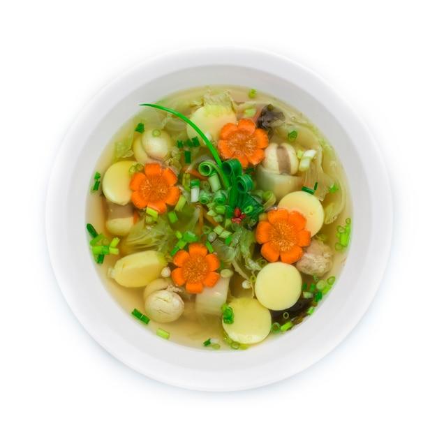 Soupe claire au tofu, sauce aux œufs, boule de porc hachée