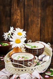 Soupe froide avec des concombres frais, radis avec du yaourt dans un bol sur fond en bois.