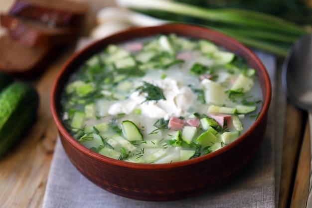 Soupe froide d'été à la viande et aux légumes verts