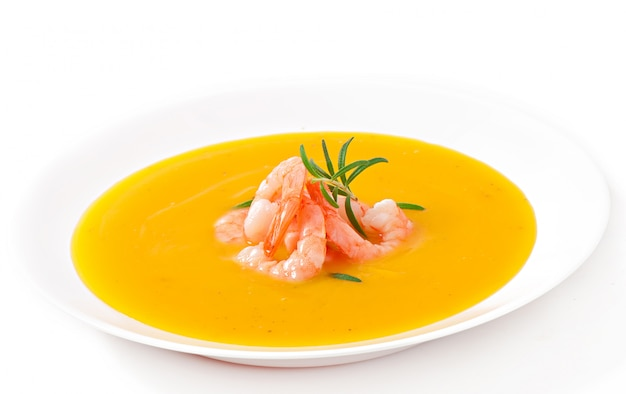 Soupe de potiron aux crevettes et romarin