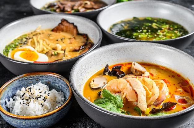 Soupes asiatiques, miso, ramen, tom yam, pho bo
