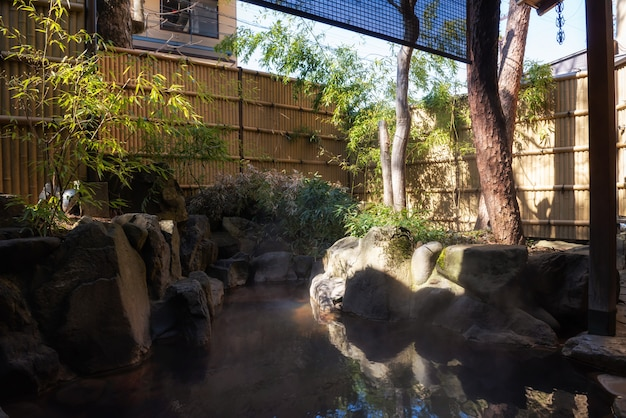 Sources chaudes en plein air ou onsen à l'hôtel ryokan