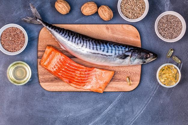 Sources d'oméga 3 - maquereau saumon graines de lin graines de chanvre noix de chia huile de lin