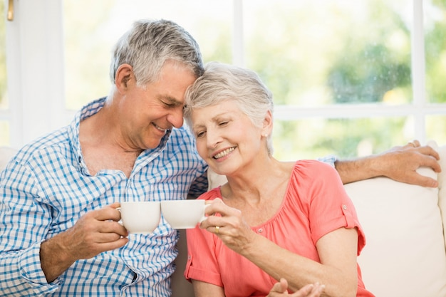 Souriant couple de personnes âgées portant un toast avec des tasses sur le canapé