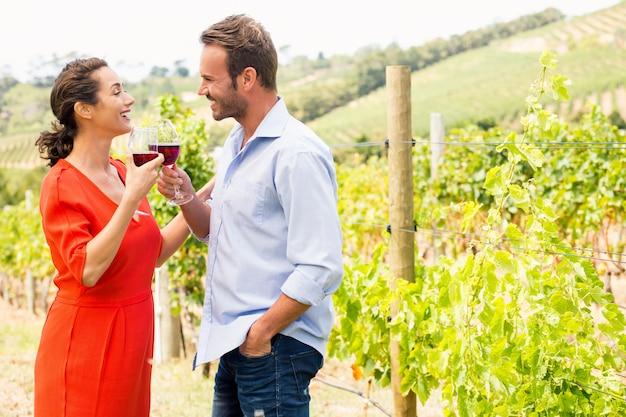 Souriant couple portant un toast au vin rouge