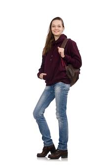 Souriant étudiant avec sac à dos isolé sur blanc