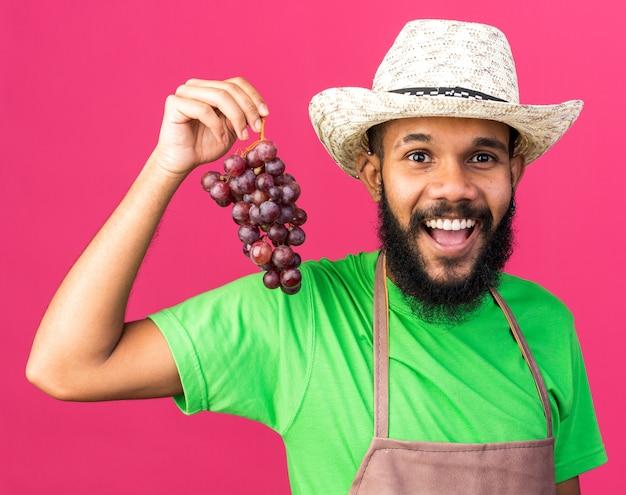 Souriant jeune jardinier afro-américain portant un chapeau de jardinage tenant des grappes isolées sur un mur rose