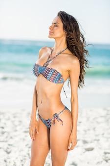 Souriante jolie brune posant en bikini