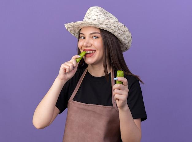 Souriante jolie jardinière caucasienne portant un chapeau de jardinage tenant et mordant une partie de piment cassé isolé sur un mur violet avec espace pour copie