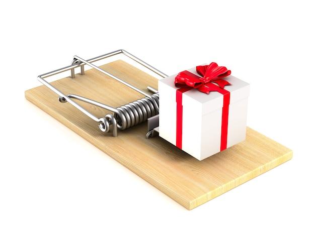 Souricière et boîte-cadeau sur l'espace blanc