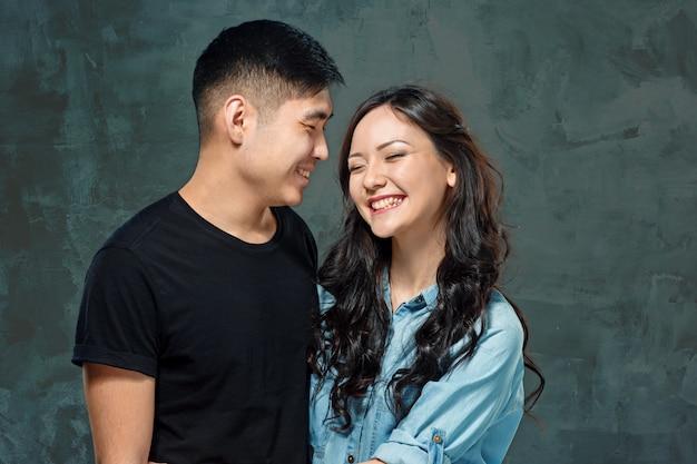Sourire, coréen, couple, gris