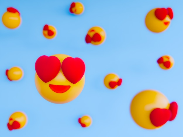 Sourire emoji balle jaune. fond de rendu 3d