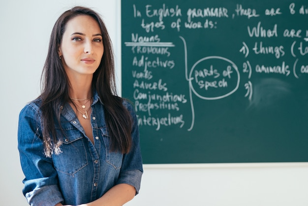 Sourire enseignante debout devant le tableau noir dans la salle de classe.